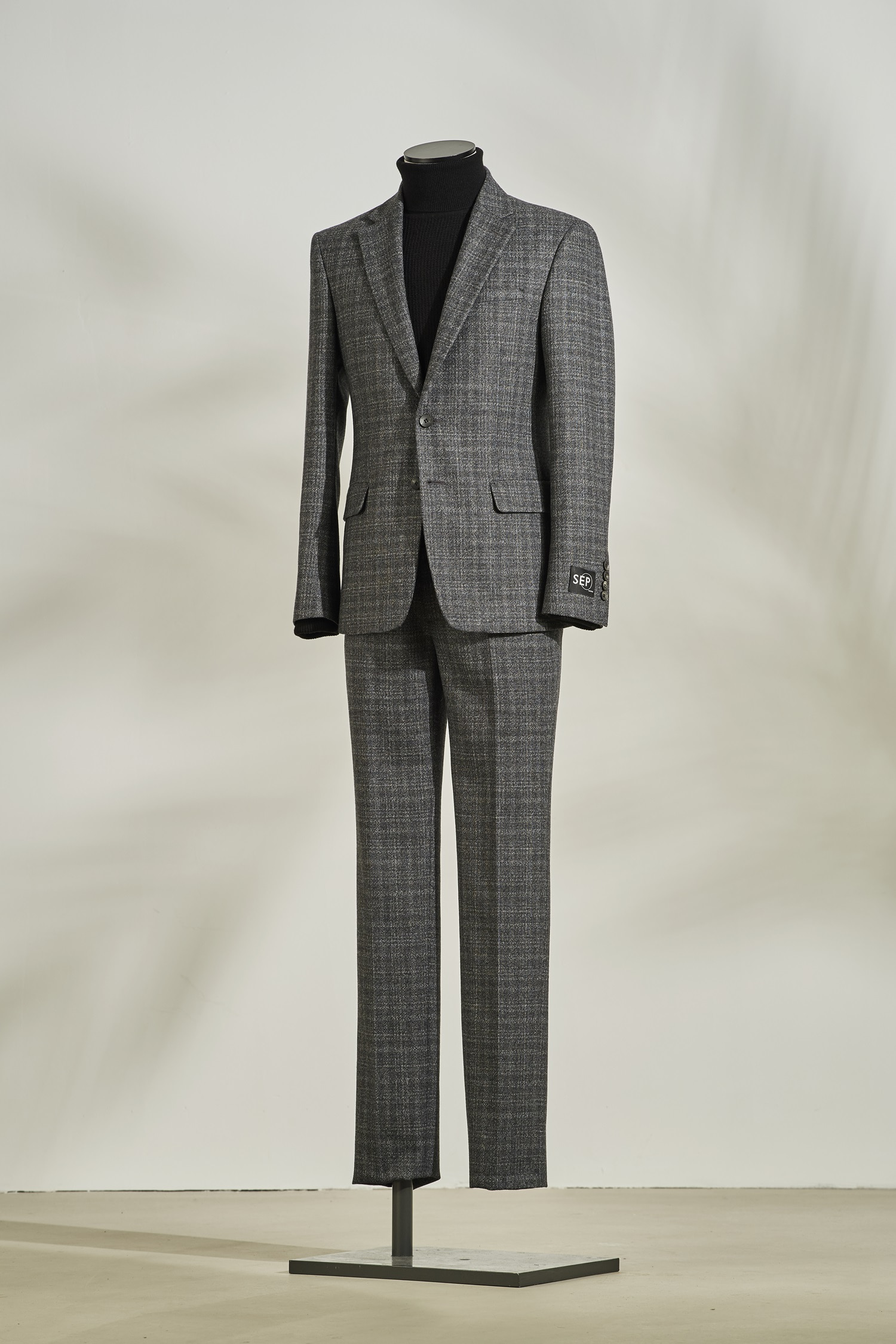 Grey check pattern suit