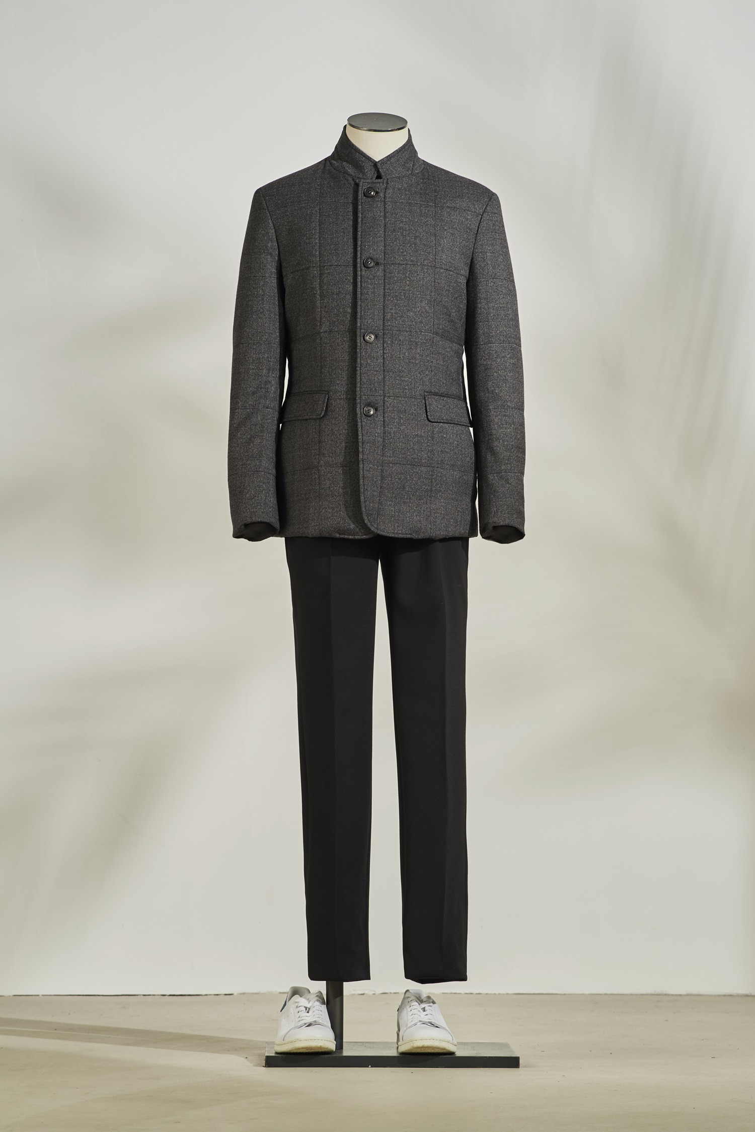 Wool Quilting Jacket #Charcoal