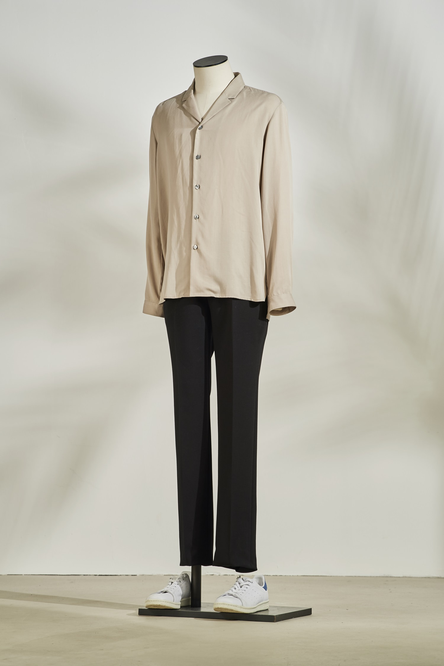 Tencel open collar shirt #Beige