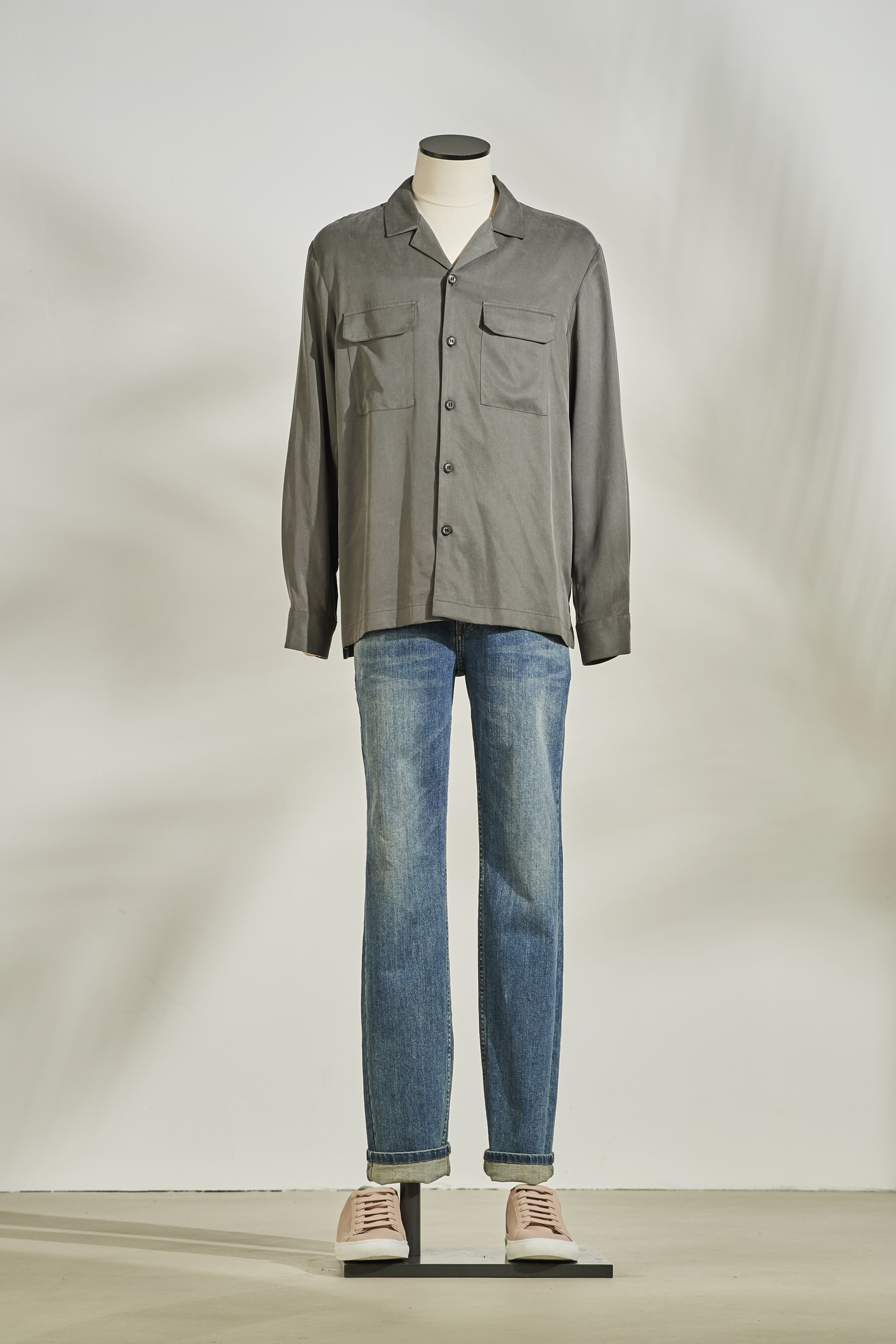 Tencel open collar pocket shirt #Khaki