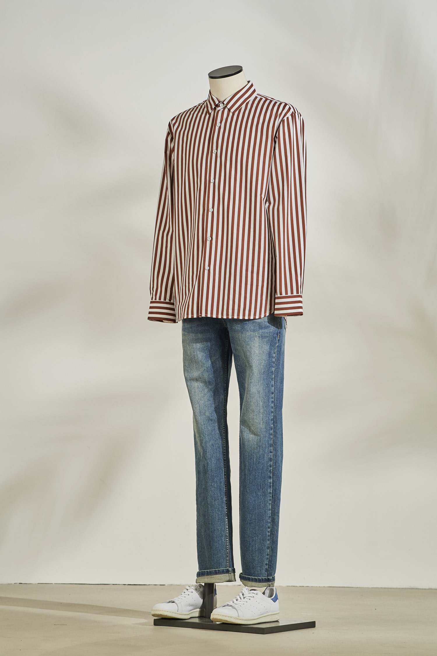 Stripe oversize shirt #Brick