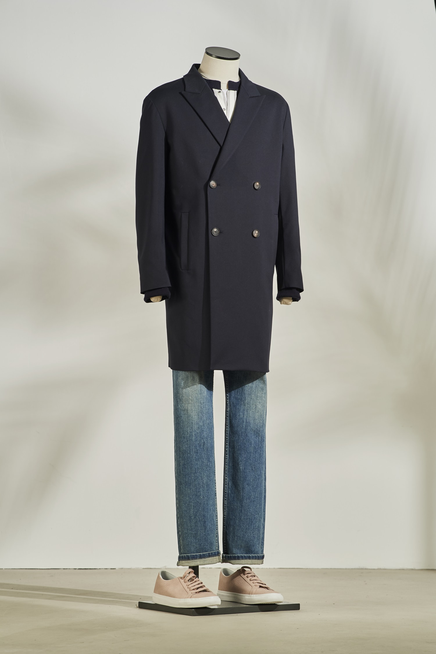 Double Trench Coat #Navy