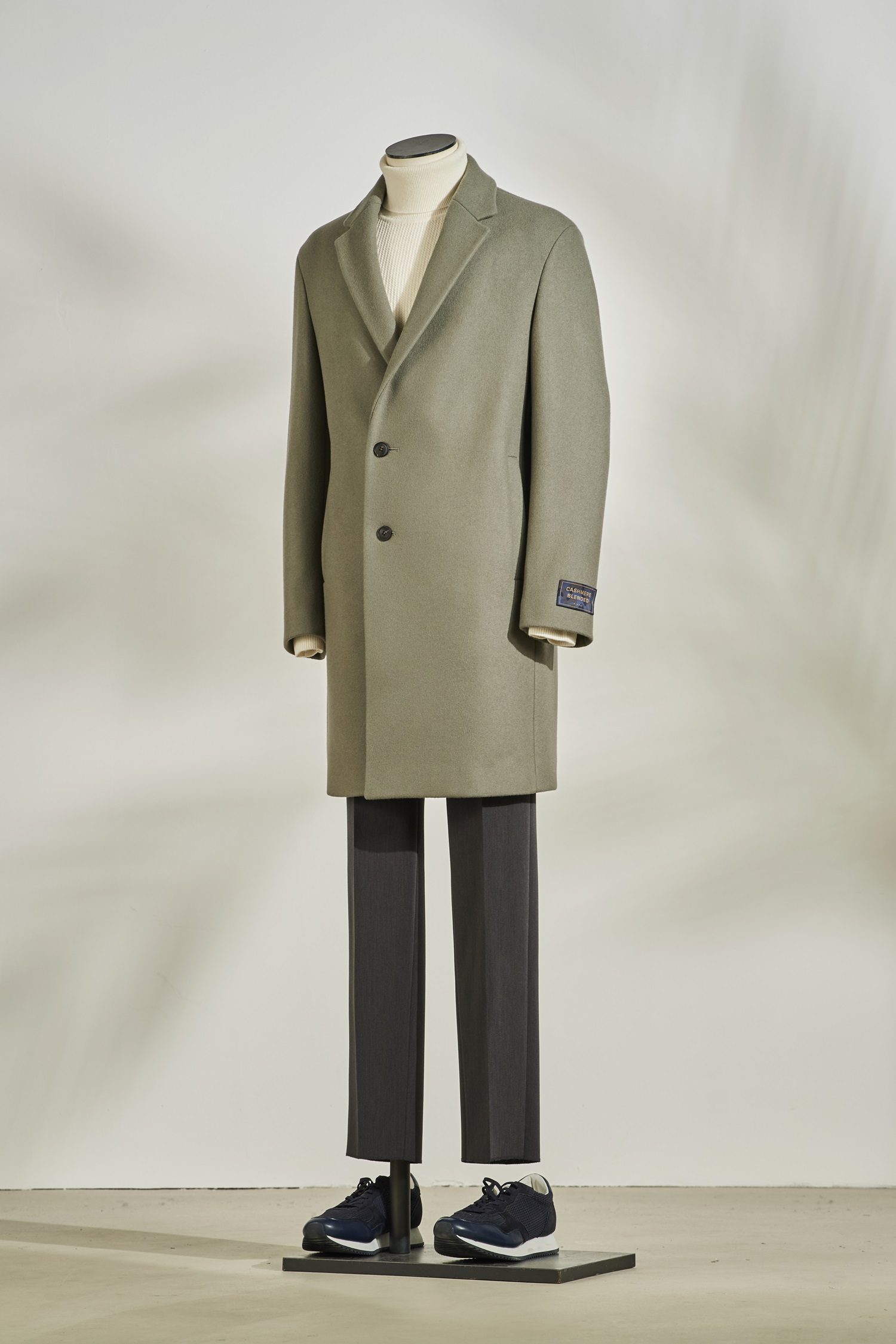 Cashmere Blended Coat #Khaki