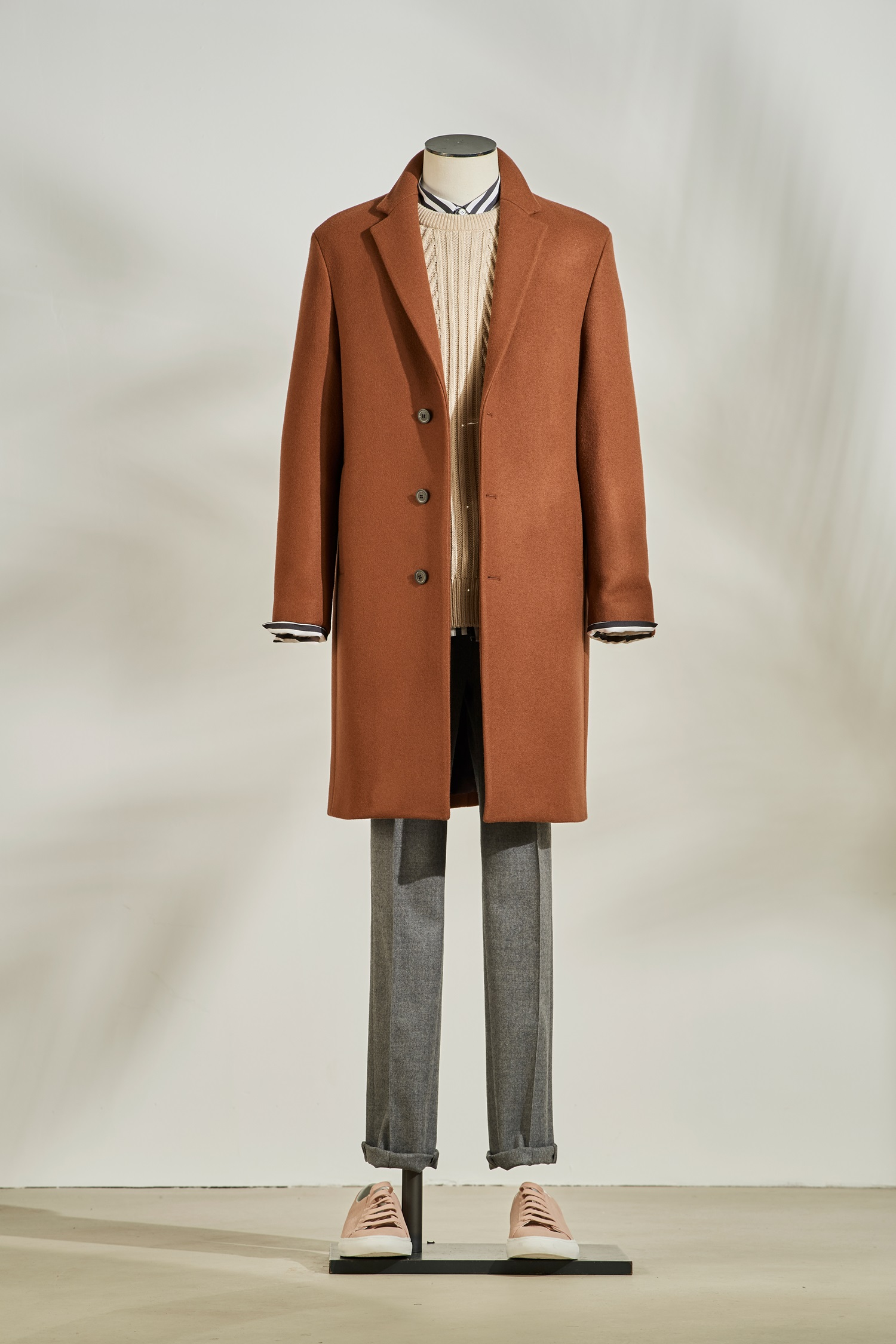 Three Botton Half Coat #Brick